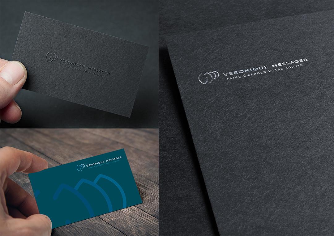 Agence Takestwo : impression cartes de visite pour Véronique Messager