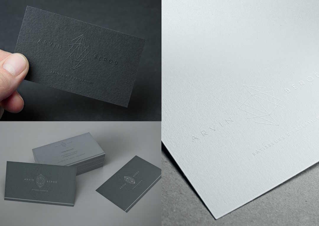 Agence Takestwo : design de carte de visite, haut de gamme dorure et embossage, pour Arvin Bérod
