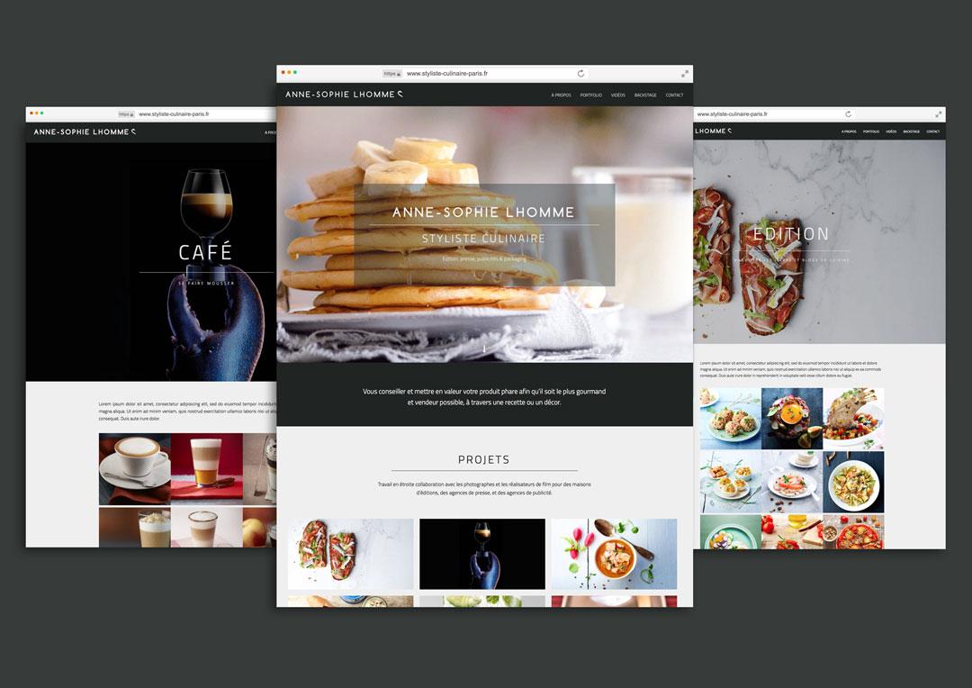Agence Takestwo : développement du site web et portfolio de Anne-Sophie Lhomme, styliste culinaire