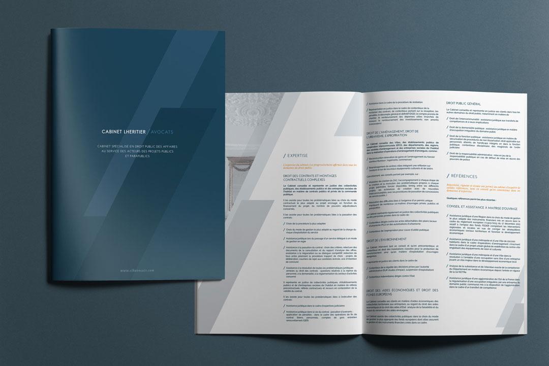 Agence Takestwo : plaquette commerciale pour le cabinet Lhéritier Avocats