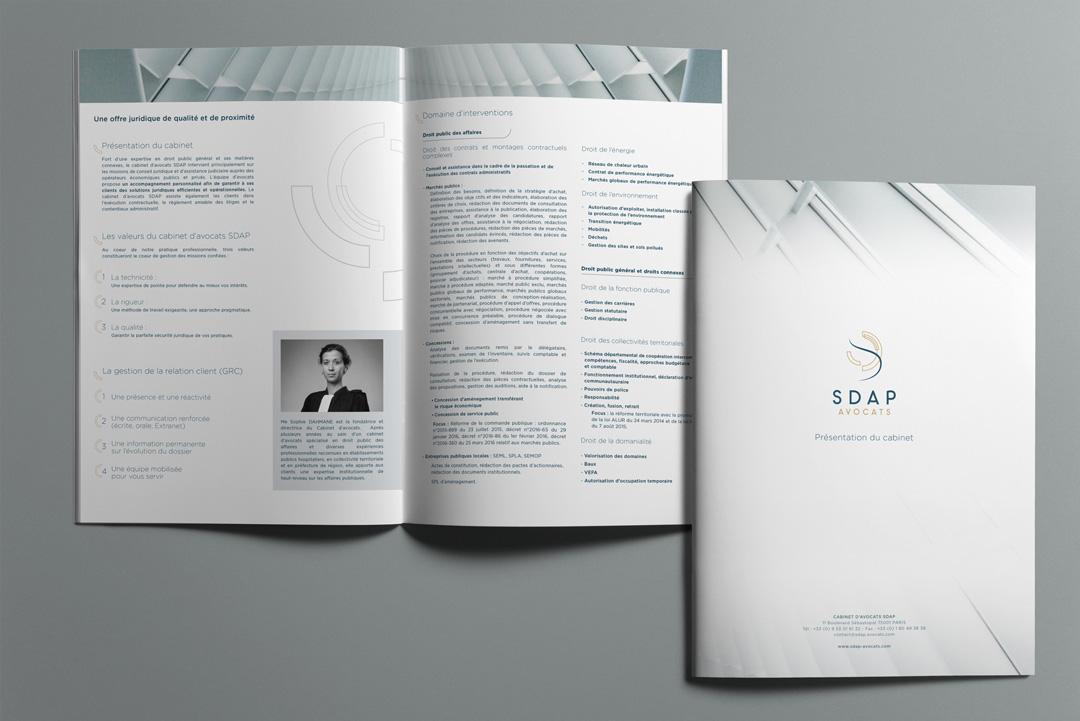 Agence Takestwo : création et mise en page de la plaquette commerciale du cabinet d'avocats SDAP