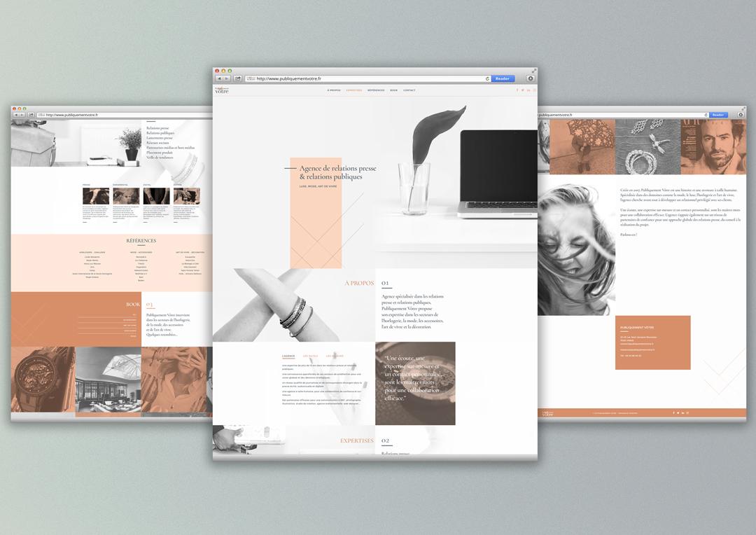 Agence Takestwo : identité web pour l'agence de relations presse et relations publiques Publiquement Vôtre